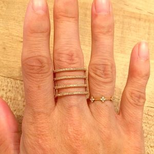 Stackable Diamond Daisy Ring 14k Rose Gold